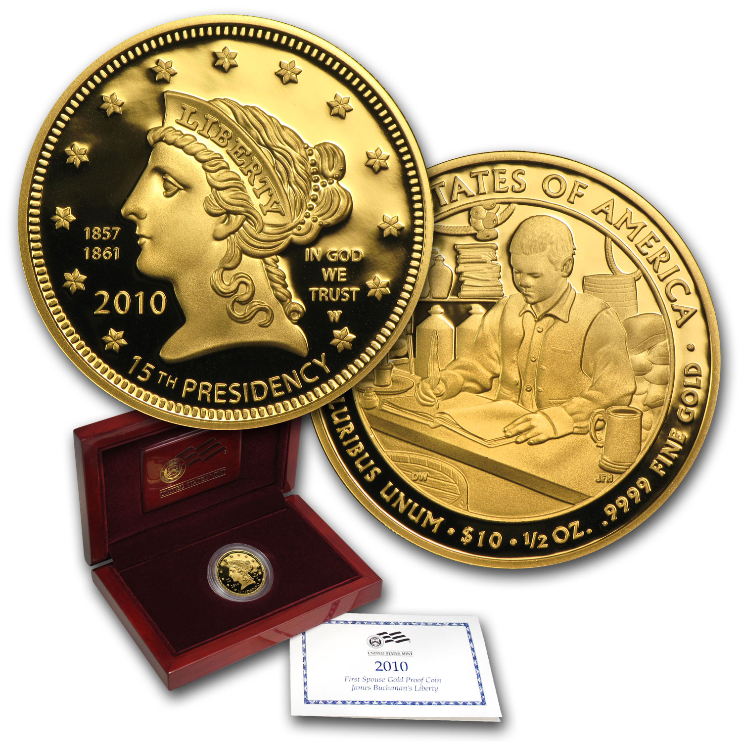 2010-W 1/2 oz Proof Gold Buchanan's Liberty (w/Box & CoA)